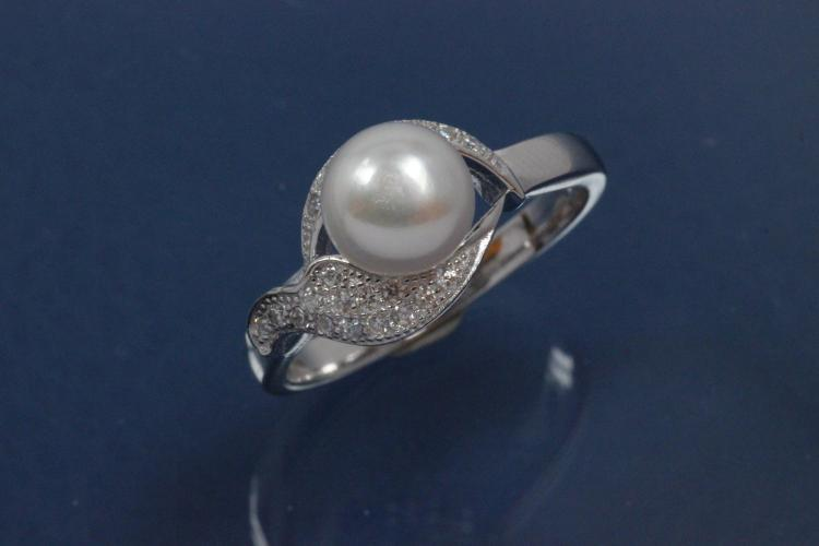 Ring Pearl-Design 925/- Silver rhodium plated, with white Cubic Zirconia and Freshwater Pearl ca. Ø7,4mm (FWP)