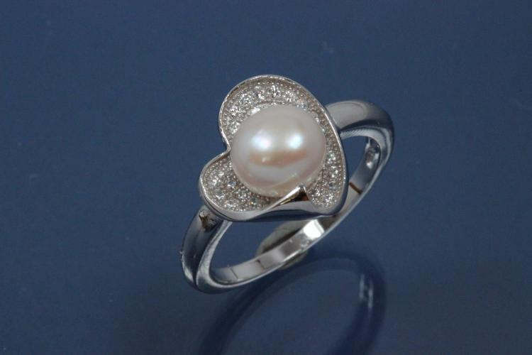 Ring Heart-Design with Pearls 925/- Silver rhodium plated, with white Cubic Zirconia and Freshwater Pearl ca. Ø7,5mm (FWP)