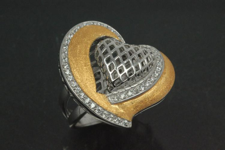 Ring Heart with undergallery 925/- Silver rhodium plated / partially gold plated, with white Cubic Zirconia