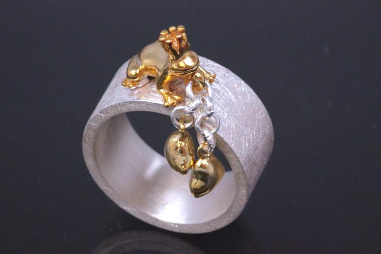 aLEm Ring Golden Mantella of the lovers with Hearts by alain LE mondial 925/- Silver and partially gold plated