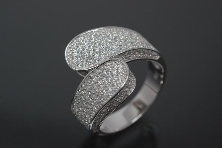 aLEm Ring Lighting Reed Blossoms 925/- Silver rhodium plated, with white Cubic Zirconia