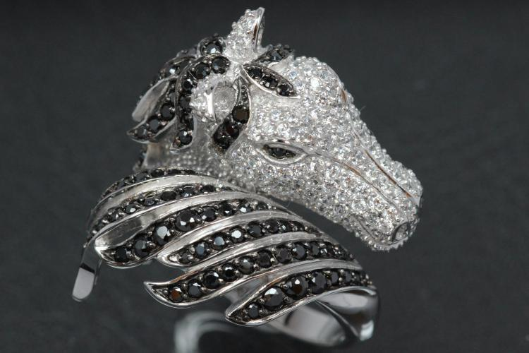 aLEm Ring Horse Head - Wild Mustang 925/- Silver rhodium plated, with white/black Cubic Zirconia