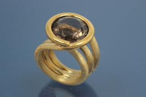 Ring with Smoky Quartz Ø 15,0mm, 925/- Silver gold plated and Steiners special finishing