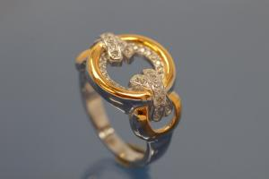 Ring bicolor 925/- Silver rhodium plated / partially gold plated, with white Cubic Zirconia