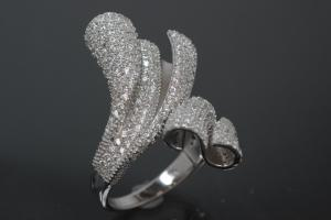 aLEm Ring Glittering Wild Waves 925/- Silver rhodium plated, with white Cubic Zirconia