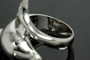 aLEm Ring Dolphin 925/- Silver rhodium plated, with white Cubic Zirconia